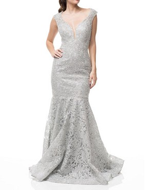 Silver Lace Halter Mermaid Evening Dress