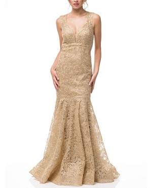 Gold Lace Halter Mermaid Evening Dress