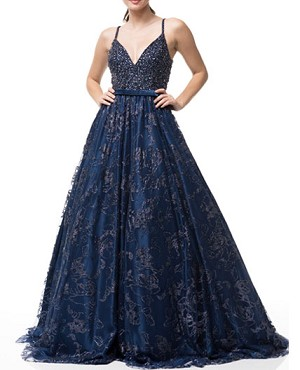 Beaded Ball Gown w/Floral Glitter- 2 Colors