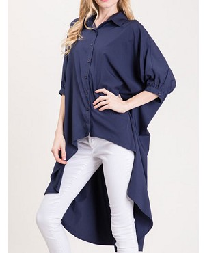 Hi Low Button Down Tunic Blouse- 2 Colors