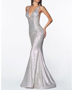 Silver Glitter Mermaid Evening Dress