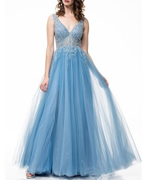 Tulle Evening Dress w/Beaded Bodice