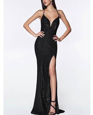Metallic Mermaid Evening Dress with Lace Up Back and Slit- 3 Colors