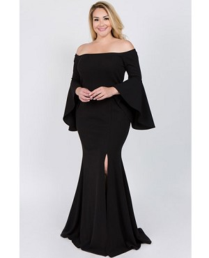 Black Plus Size Evening Dress Miami, Black Off the Shoulder Evening ...