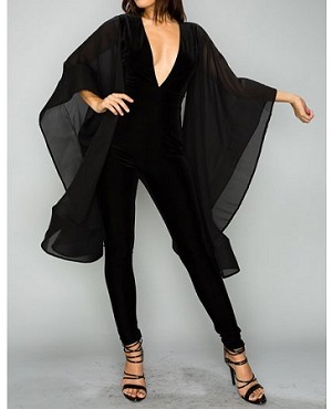 Black Velvet Jumpsuit Black Jumpsuit With Cape Sleeves