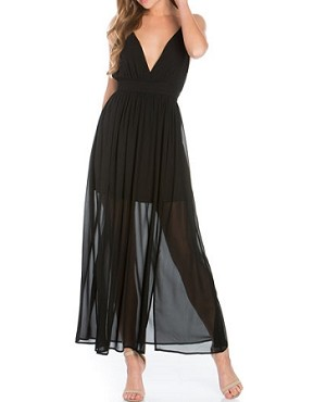 Black Deep V Maxi Dress w/Slits