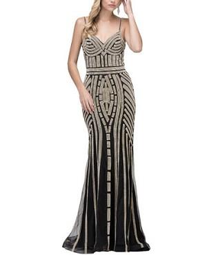 10535ef94c4 Rhinestone Beaded Gold Evening Dress Miami