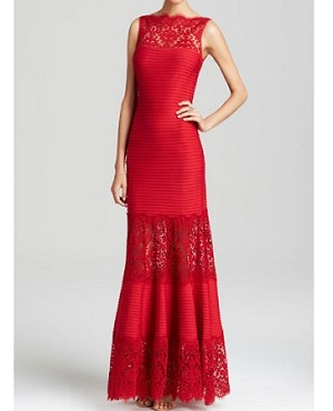 Illusion Lace Pintuck Jersey Gown- 2 Colors