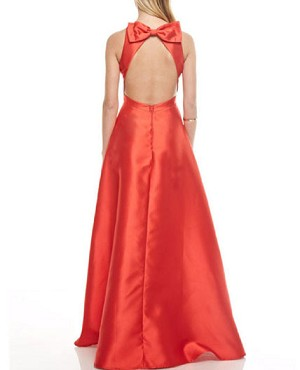 Red Mikado Ball Gown Dress w/Open Back