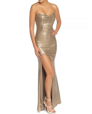 Strapless Sequins Formal Dress w/Slit- 2 Colors