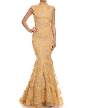 Mockneck Roset Lace Mermaid Gown- 2 Colors