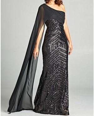 Black Sequins One Shoulder Evening Dress, Black Sequins Formal ...