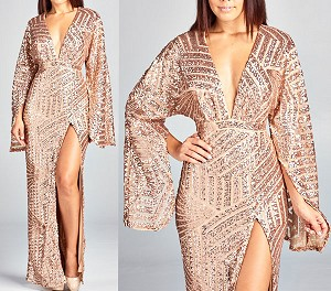 Sequins V-Neck Formal Dress w/Slit and Long Slit Sleeves- 5 Colors
