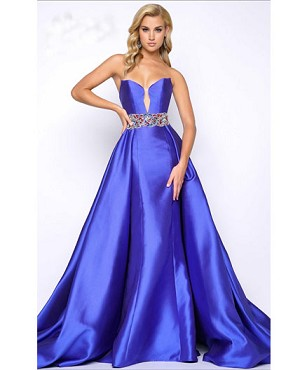 Royal Blue Strapless Mermaid Gown w/Overlay and Trims