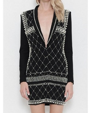 Pearl Trim Blazer Mini Dress