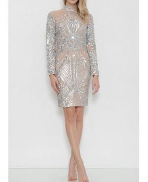 c06a07f6 Silver Sequins Cocktail Dress, Balmain Silver Dress, Long Sleeve Silver  Short Dress, Silver Evening Dress, Dress Boutique Miami