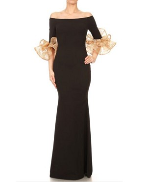 Black Off the Shoulder Formal Dress w/Ruffle Cuffs- 2 Colors