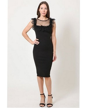 Black Midi Dress with Lace Trims