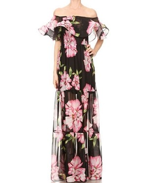 Floral Print Chiffon Off the Shoulder Maxi Dress
