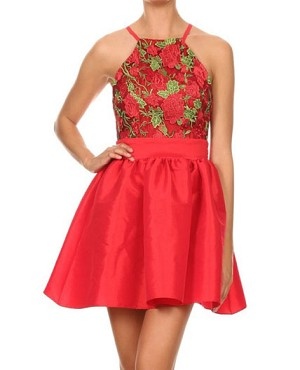 Rose Red Taffeta Short Dress