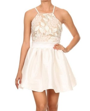 Lace Halter Taffeta Short Dress- 2 Colors