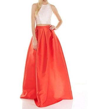 Red Ball Gown Skirt with Crop Top, Crop Top Prom Dress