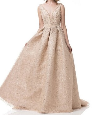 Champagne Ball Gown with Pearls