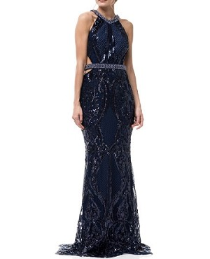 Navy Evening Dress w/Cutouts and Bead Trims