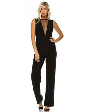 Mesh Cutouts Jumpsuit- 2 Colors