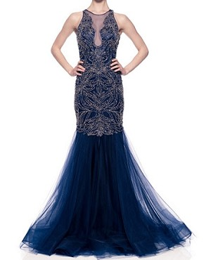 Navy Mermaid Tulle Gown w/Bead Trims