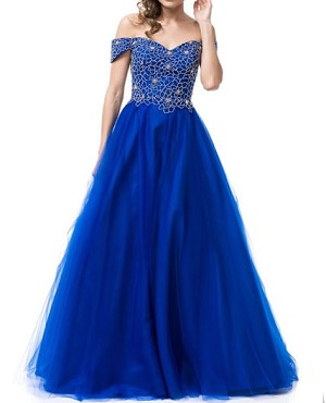 Royal Blue Off the Shoulder Tulle Ball Gown