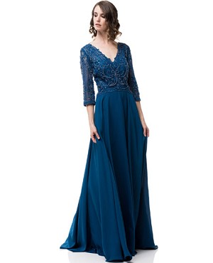 Teal Blue V-Neck Long Sleeve Evening Dress- Plus Size
