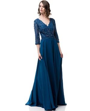 Teal Blue Evening Dress, Plus Size Evening Dress Miami, Blue Mother ...