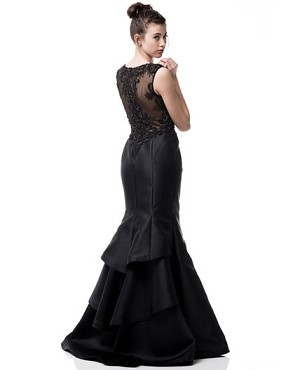 Black Mikado Mermaid Gown w/Beaded Back