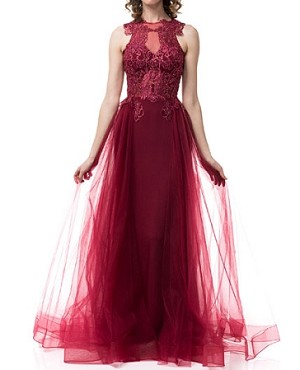 Burgundy Mermaid Evening Dress w/Tulle Overlay