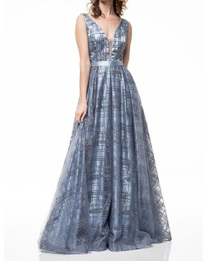 Light Blue Tulle and Glitter Evening Dress