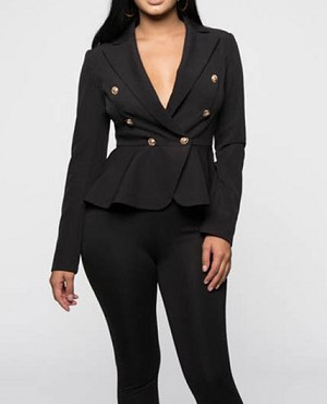 Peplum Ruffle Blazer w/Gold Buttons- 2 Colors
