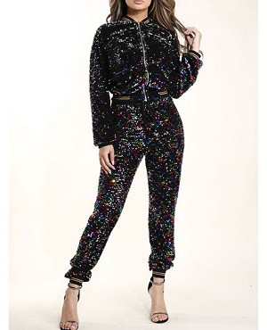 Rainbow Sequins Jogger Pants