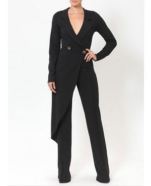 Black Tuxedo Style Jumpsuit w/Bead Buttons