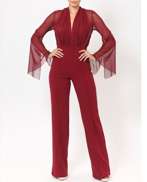 Burgundy L/S Jumpsuit with Mesh Sleeves