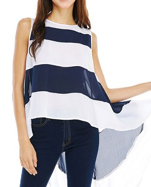 Navy and White Stripes Chiffon Hi Low Tank Top