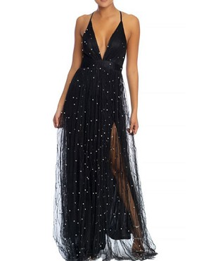 ef675dae1e Black Tulle Long Maxi Dress with Pearls and Slits, Black Tulle Prom Dress  Miami, Shop Prom Dress Miami, Black Formal Dress Miami Boutique
