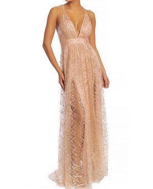 Glitter Tulle Deep V Long Maxi Dress with Slits- 2 Colors
