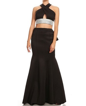Scuba Keyhole Halter Crop Top with Mermaid Skirt Set-2 Colors