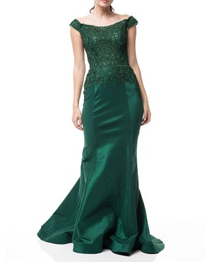 Emerald Green Taffeta Mermaid Evening Dress