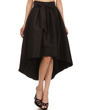 Taffeta High Low Skirt w/Tie- 7 Colors