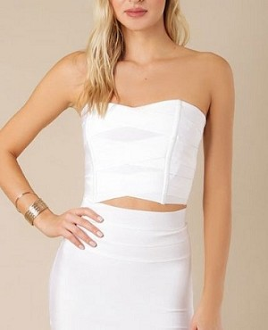 White Bandage Corset Crop Top