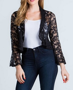 Lace Bolero Jacket w/Bell Sleeves- 2 Colors