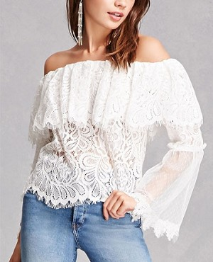 368964eb88fde Off the Shoulder White Lace Top