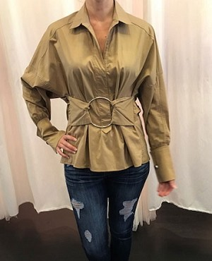 L/S Blouse w/Metali Circle Trim- 3 Colors